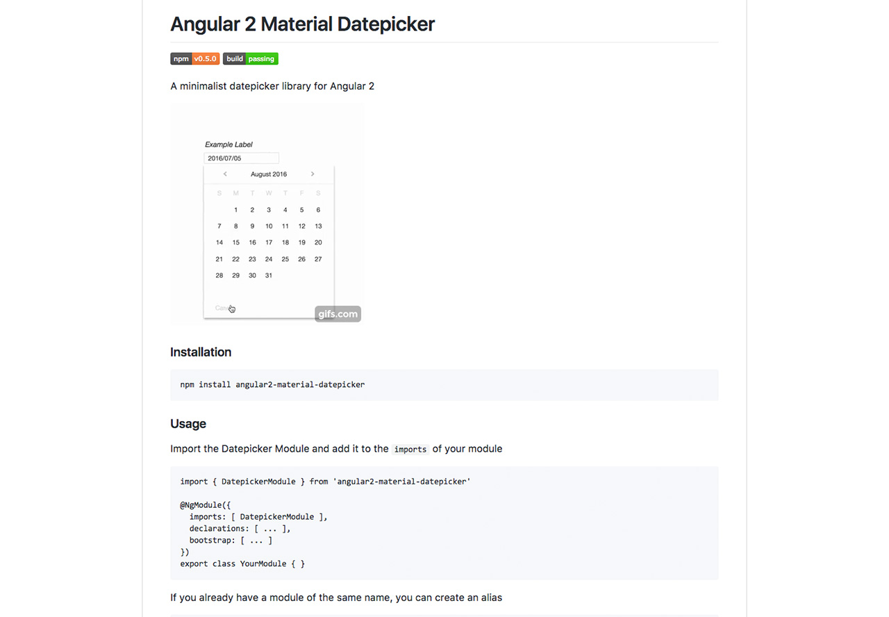 Angular 2 Material Datepicker